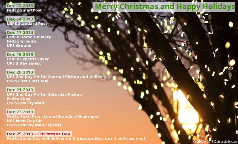 Holiday Shipping Cut Off Dates for 2013 - Xipix Global